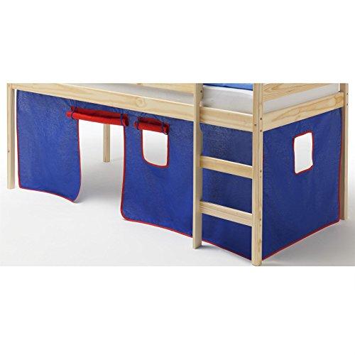 Vorhang Gardine Bettvorhang CLASSIC zu Hochbett Rutschbett Spielbett in blau/rot - 1