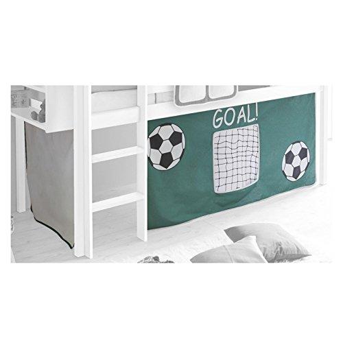 Vorhang Gardine Bettvorhang Fußball zu Hochbett Rutschbett Spielbett grün weiß - 1
