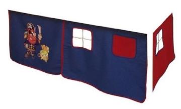 Vorhang Hochbett, Kinderbett Pirat Stoff 3-teilig blau-rot incl.Kebeklett - 1