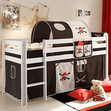 Vorhang Pirat 3-tlg 100% Baumwolle Stoffvorhang inkl Klettband für Hochbett Seeräuber Spielbett Etagenbett Stockbett Kinderbett Jugendbett - 2